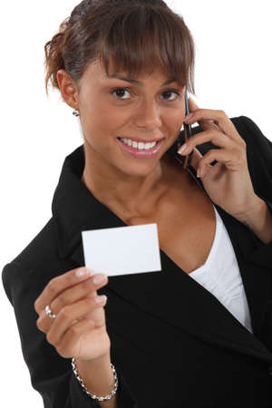 businesscard: Woman calling number on business-card
