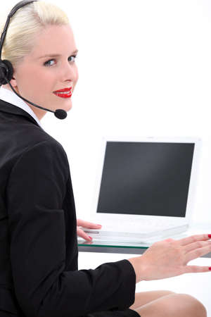 word processor: Secretary sitting at desk