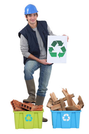 Builder recycling old material photo