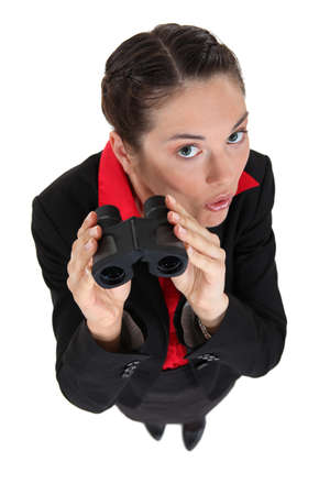 interrogatively: Nosy brunette businesswoman Stock Photo