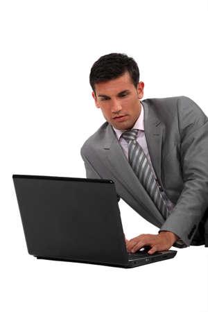 sensible: Elegant man with a computer Stock Photo