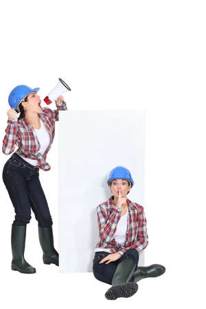 Photo-montage of woman building worker gesturing photo