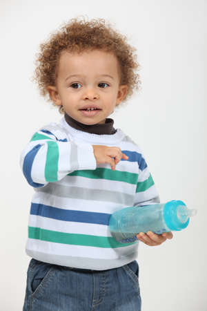 two year old: toddler with bottle Stock Photo