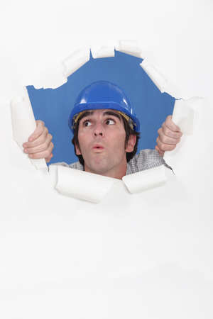 oops: Builder realizing he has made a mistake Stock Photo