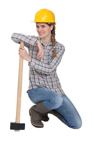 yourselfer: female carpenter Stock Photo