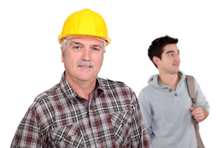 laborers: Senior laborer and young man