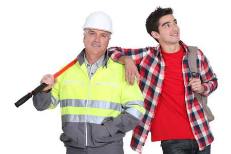 Builder stood with his new employee photo