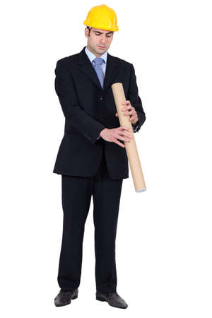 An architect looking inside his roll. Stock Photo - 15410734