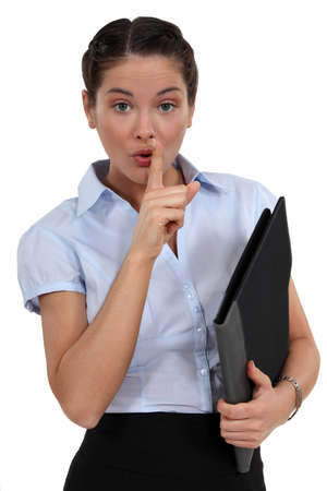 Employee asking for silence Stock Photo - 15411077