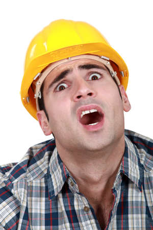 A horrified tradesman Stock Photo - 15411148
