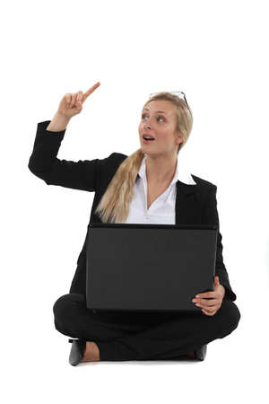contributing: Woman with an idea Stock Photo
