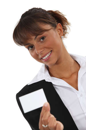 individualized: Woman holding a business card