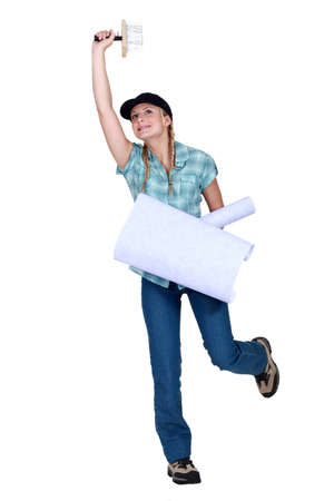 craftswoman: craftswoman painter holding wallpapers