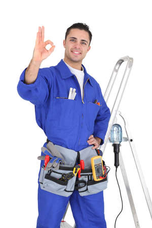 electrical safety: Electrician ok gesture Stock Photo