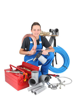 Successful woman plumber photo