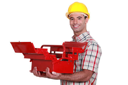 Worker with an open toolbox photo