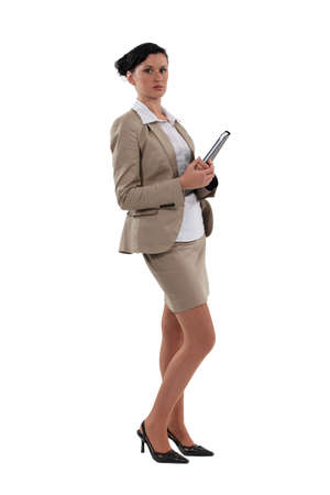 miniskirt: Working with folders in hands Stock Photo