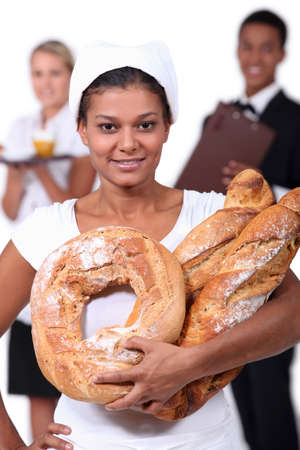 salesgirl: staff of catering industry Stock Photo