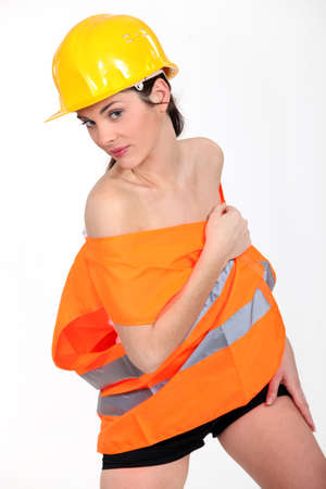 sexy construction worker: Sexy female construction worker Stock Photo