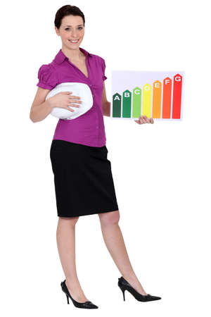 efficiently: Woman holding energy information Stock Photo