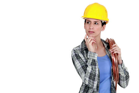 craftswoman: craftswoman thinking Stock Photo