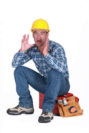 Builder panicking Stock Photo - 15449202