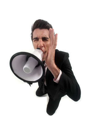 loudhailer: A businessman with a loudhailer.