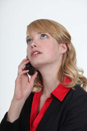 rant: Blond office becoming stressed during telephone call