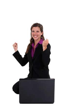 ecstatic: An ecstatic businesswoman