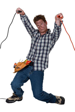 confound: Man dazed by electric shock Stock Photo