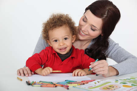 multiracial children: Woman playing with her child