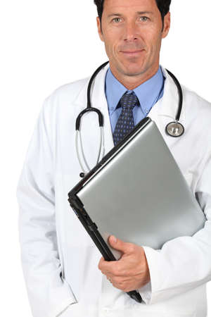 50 years old man: doctor  laptop under arm, Stock Photo