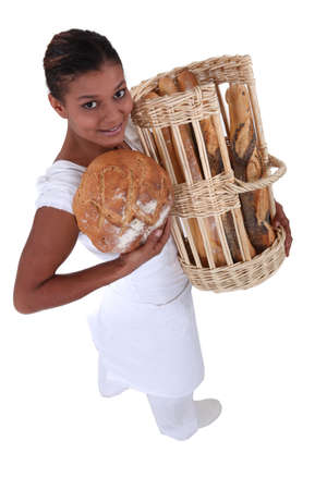 flour mill: Female bakery worker