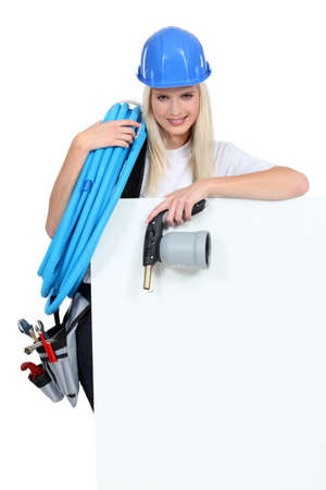 bellows: Woman with tools and bellows Stock Photo