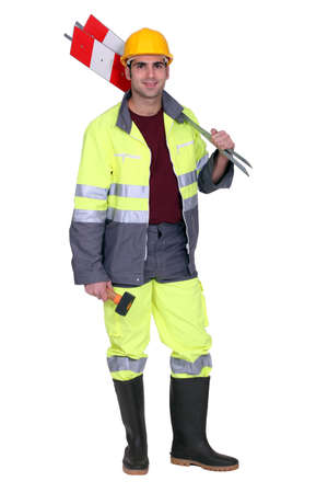 high visibility: Road-side worker