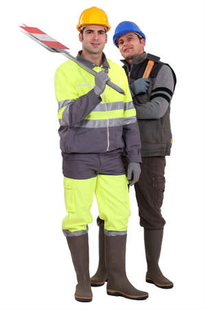 Two road workers Stock Photo - 15573786