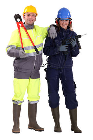 Male and female manual workers photo