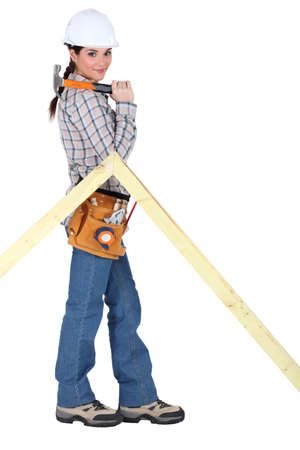 female woodworker posing Stock Photo - 15573538