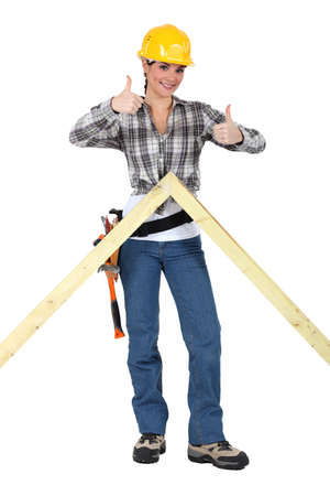 Carpenter giving two thumb's up Stock Photo - 15573629