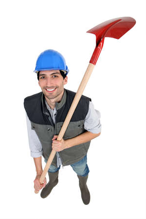 encouraged: Worker with shovel
