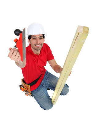 carpenter, studio shot Stock Photo - 15573379