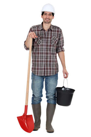 Portrait of a day labourer Stock Photo