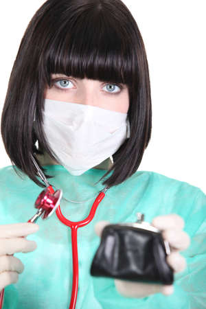 Doctor checking the health of her purse photo