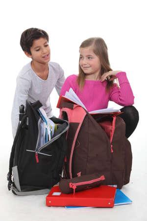 nonuniform: Children with schoolbags