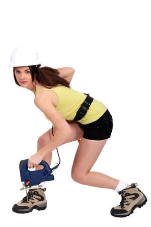 architect tools: Female laborer in sexy clothing