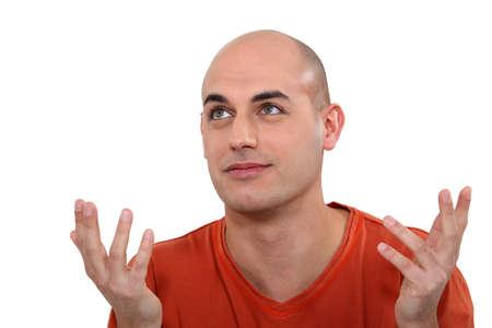 bald man: Resignado hombre buscando Foto de archivo