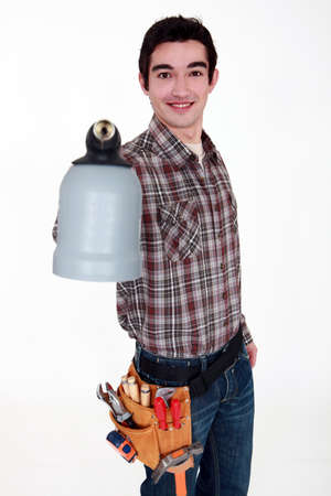 arm extended: Man with Jug