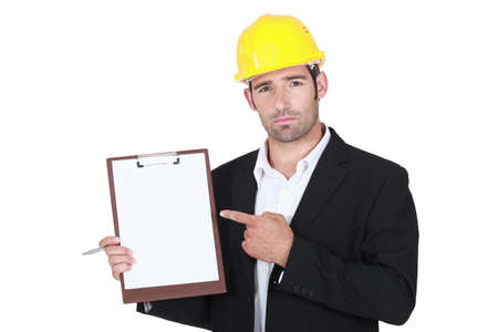 clipboard isolated: foreman pointing at clipboard