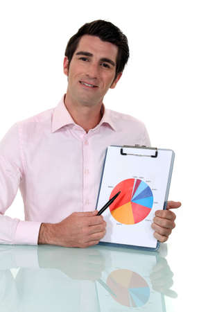 assignation: Salesman showing graph of earnings
