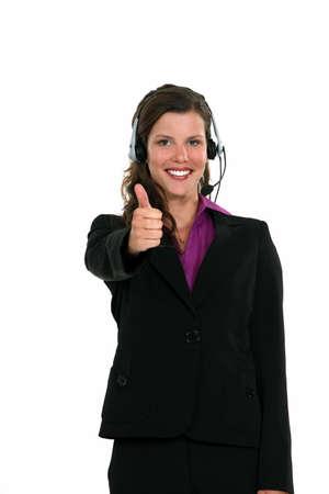 comunicacion no verbal: Recepcionista que da el pulgar toca